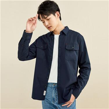 Flat pockets long sleeves shirt