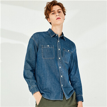 Cotton cargo dropped-shoulder denim shirt