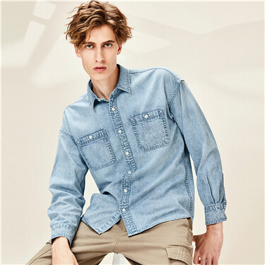 Cotton Cargo Dropped Shoulder Denim Shirt