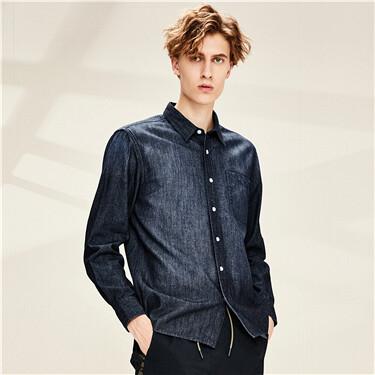 单贴袋纯棉牛仔长袖衬衫