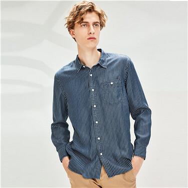 条纹单贴袋牛仔长袖休闲衬衫