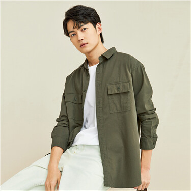 Cargo patch pockets shirt