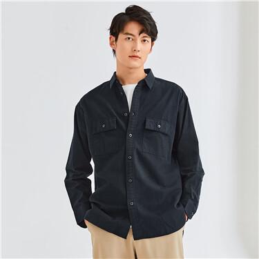 工装贴袋纯棉长袖休闲衬衫