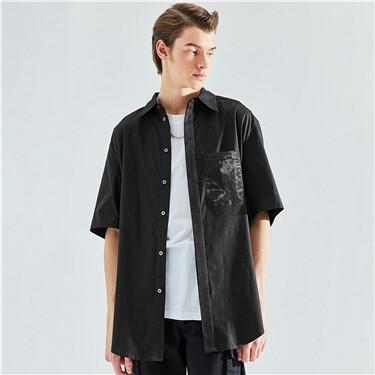 设计师合作短袖黑色口袋拼布宽松衬衫