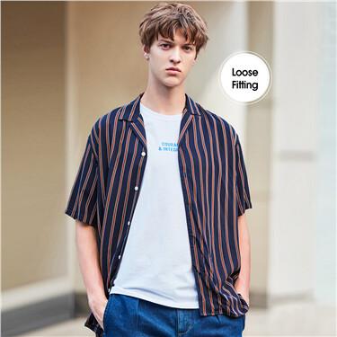 Hawaii collar drop-shoulder loose shirt