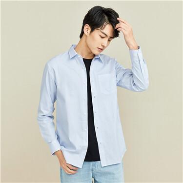 单标袋修身长袖休闲衬衫