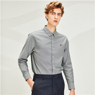 Frog Embroidered Oxford Slim Shirt