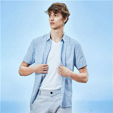 Linen-cotton short-sleeve shirt