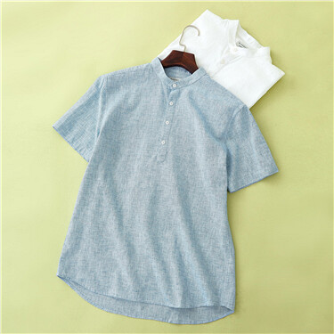 Linen-cotton stand collar shirt