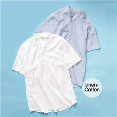 Linen-cotton stand collar shir