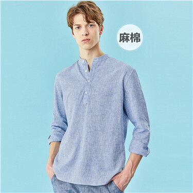 Linen-cotton stand collar long-sleeve shirt