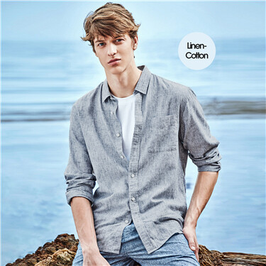 Linen-cotton long-sleeve shirt