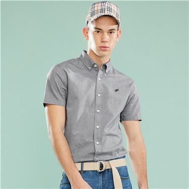 Embroidered graphic oxford slim short sleeves shirt