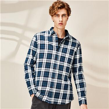 男裝法蘭絨格子修身長袖襯衫