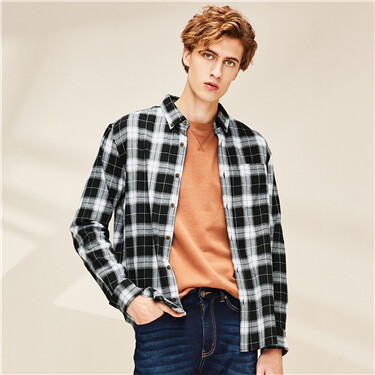 Flannel plaid slim shirt