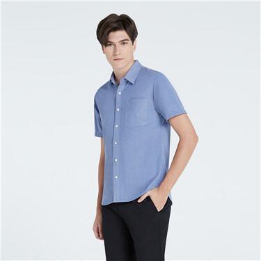 男裝口袋修身短袖恤衫