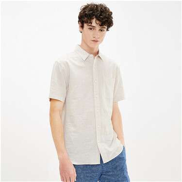 男裝麻棉口袋短袖恤衫