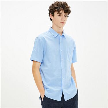 天然麻棉单贴袋短袖休闲衬衫