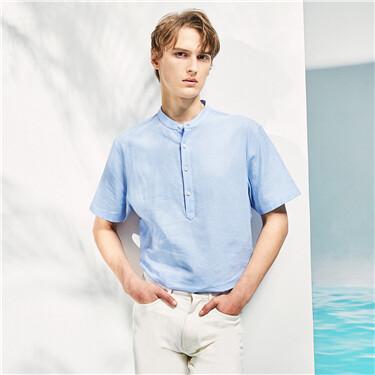 天然麻棉立领半开筒短袖衬衫