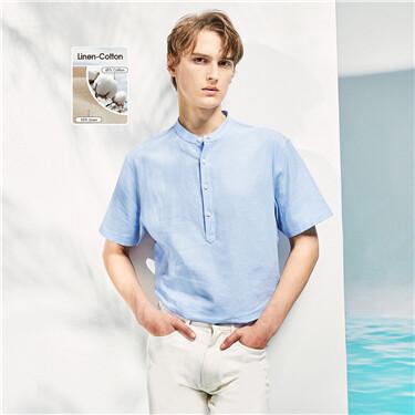 Linen-cotton stand collar shirt