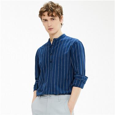 天然麻棉立领半开筒长袖衬衫