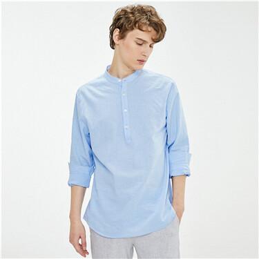 Linen-cotton stand collar long-sleeve shirt