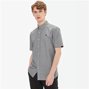 青蛙刺绣纯棉牛津纺修身短袖衬衫