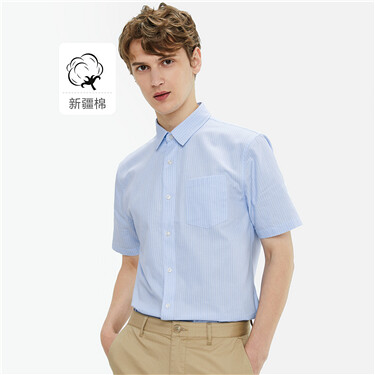 单标袋修身短袖休闲衬衫