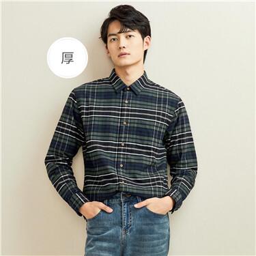 厚实法兰绒纯棉格子长袖休闲衬衫