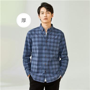 厚实纯棉格子口袋长袖休闲衬衫