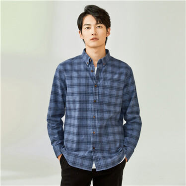 Thick plaid patch pocket shirt