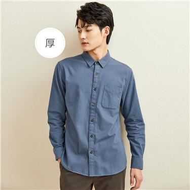 厚实法兰绒纯棉长袖休闲衬衫