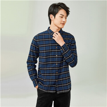 Thick flannel plaid long-sleeve shirt