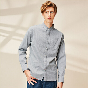 Single patch pocket long-sleeve shirt