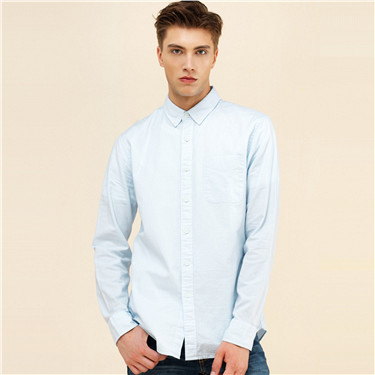 Oxford single patch pocket slim shirt