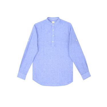 Linen-cotton half-placket slim shirt