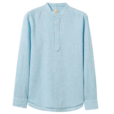Linen-cotton half-placket slim shirt