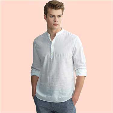 Linen half placket shirt