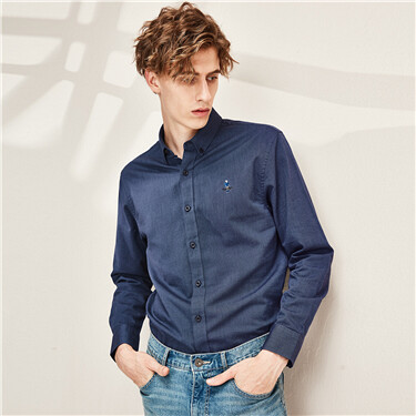 Oxford embroidery long-sleeve shirt