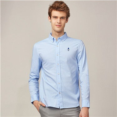 Stretch oxford long sleeves classic men shirts