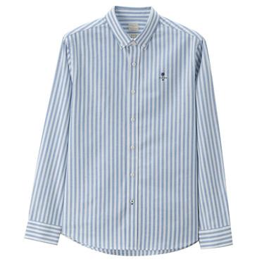 男裝經典刺繡彈力牛津紡長袖襯衫