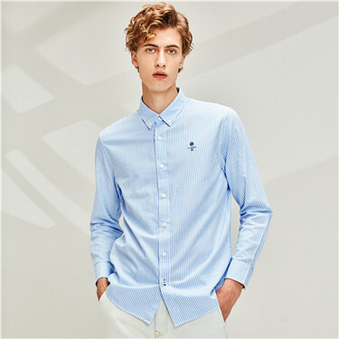 Embroidered oxford long-sleeve shirt