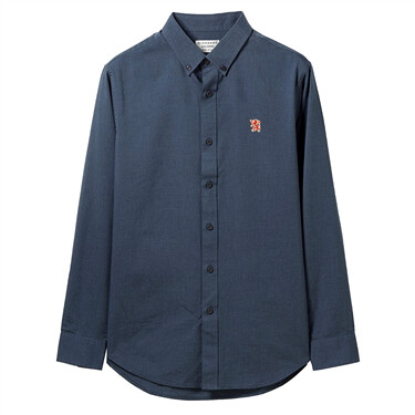 男裝牛津紡刺繡長袖恤衫