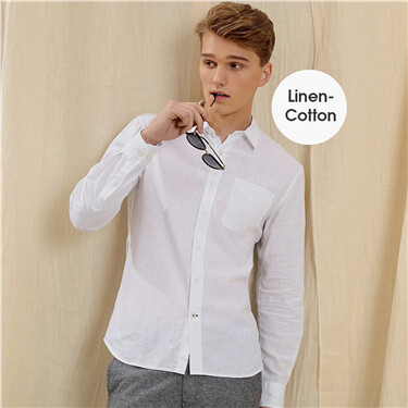 Linen-cotton roll-up sleeve shirt