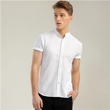 Linen mandarin collar short sleeve shirt