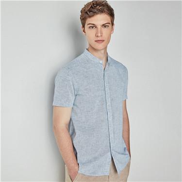 Linen mandarin collar short sleeve shirt
