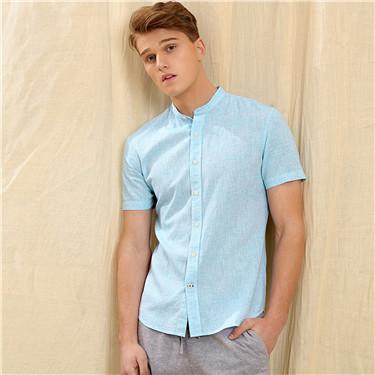 天然麻棉立领修身短袖衬衫