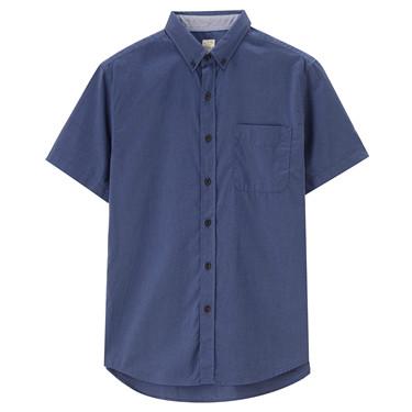純棉牛津紡修身短袖襯衫