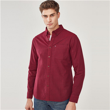 Thick cotton pocket long-sleeve shirt