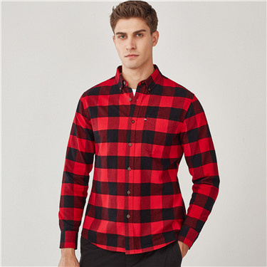 Thick cotton pocket long-sleeve shirt